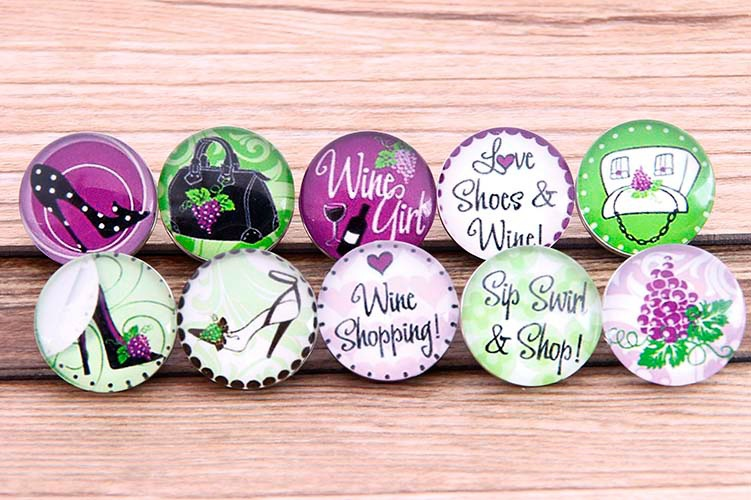 PAPAPRESS 20pcs/lot Mixed Love Shoes&Wine Snaps Buttons 18mm Glass Choker Buttons Watch Bracelet Buttons Snaps Jewelry M881