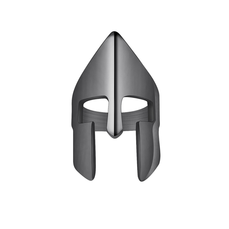 Gorgeous Tale Spartan Helmet Mask Ring Men 38mm Width Stainless Steel Rings For Male Black Gun Color Punk Party Jewelry