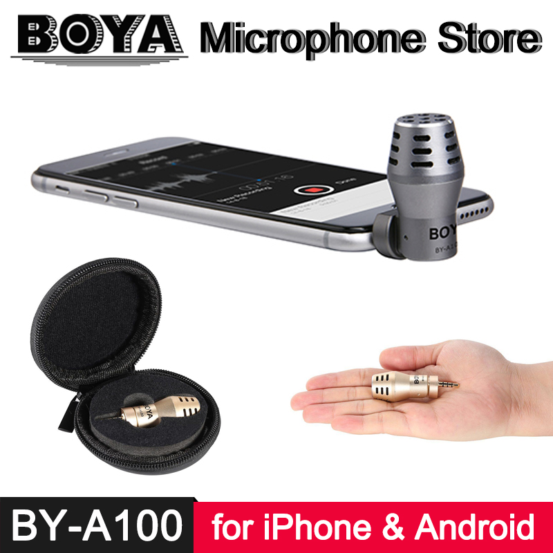BOYA İLE BY-A100 iPhone için 3.5mm TRRS Mikrofon X 8 7 6 iPad ipod touch Xiaomi 6 Oneplus 5 4 3 Android Smartphone Video Kayıt Mic