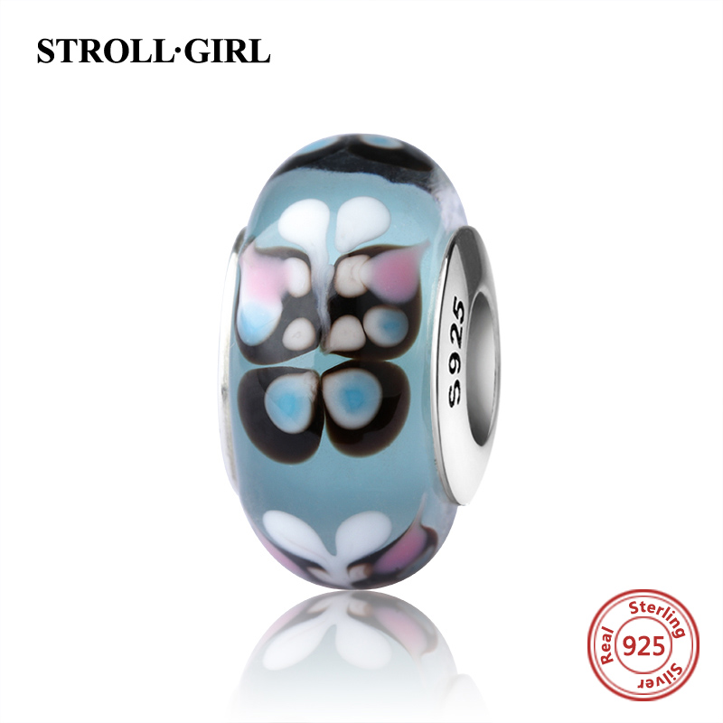 StrollGirl sparkling Murano glass beads butterfly 925 silver charms fit original pandora bracelet diy jewelry making women gifts