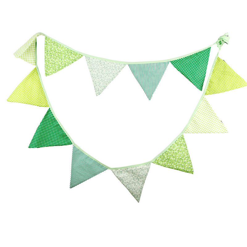 Cotton Fabric Banners Christmas Decoration Wedding Green Bunting Decor Birthday Garland Home Party Decoration wedding event
