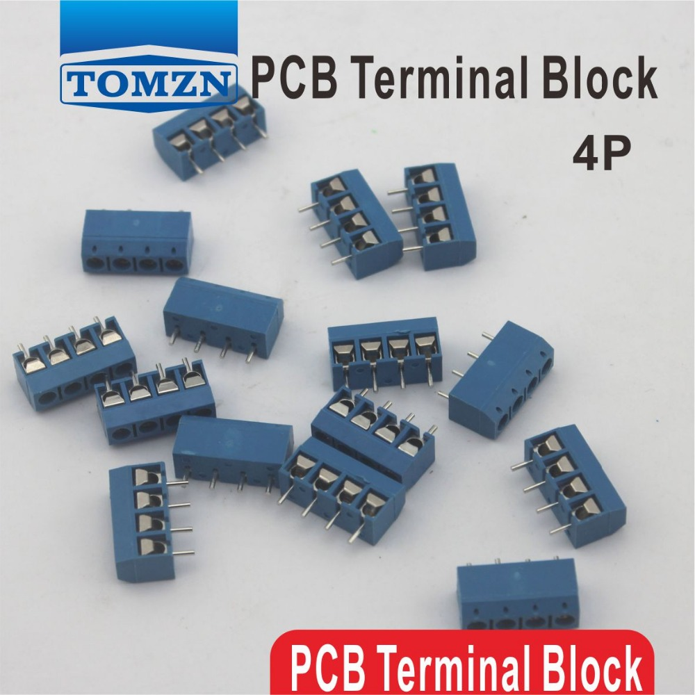 500 adet 4 Pin Vida mavi PCB Terminal Bloğu Connector 5mm Pitch