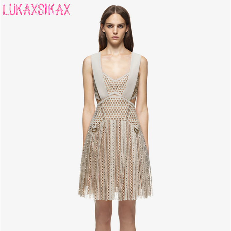 High-end özel s p hollow out dantel pist dress 2017 kadın bahar yaz dress seksi spagetti askı mini parti elbiseler