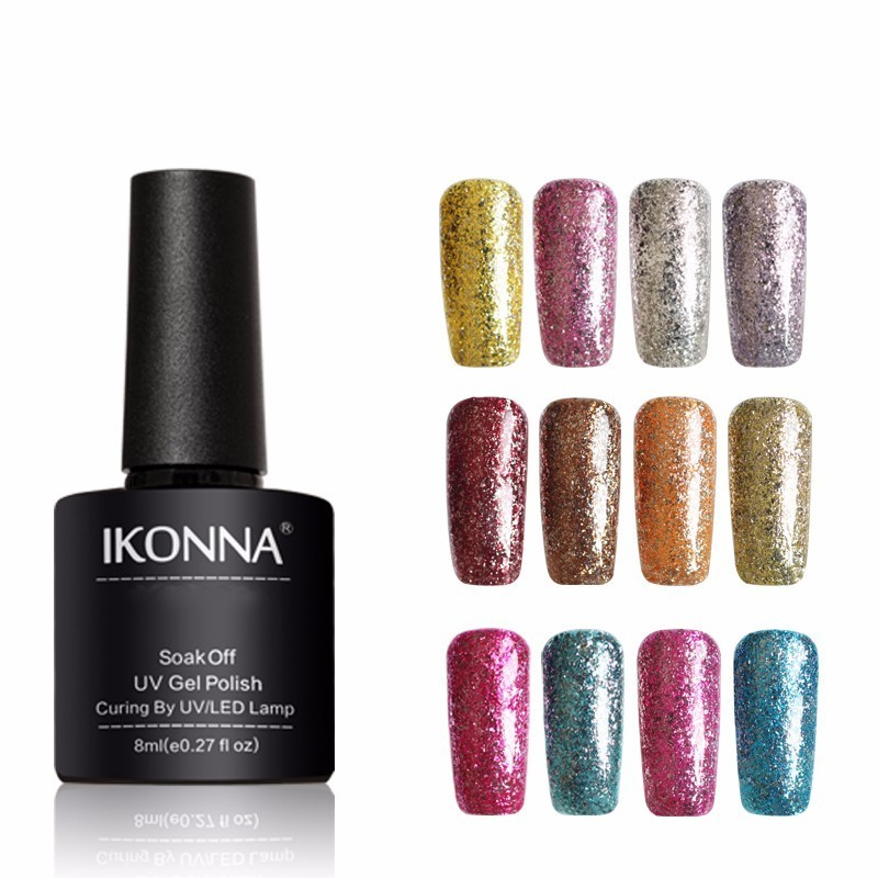 Ikonna Hot Sale Platinum Series 8 Ml Long Lasting Hybrid Enamel Soak Off UV Nail Gel Polish